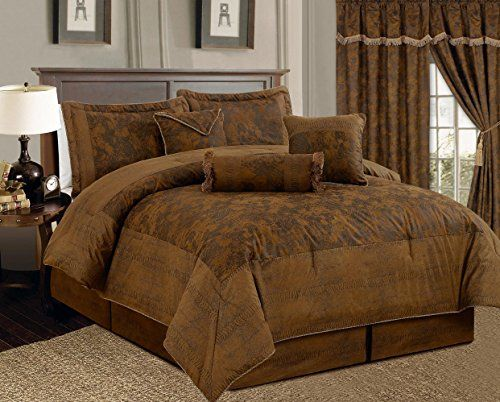 7 Piece Dark Camel Brown Lavish Oversize (106″X 94″) Comforter Set Micro Suede Bed In A Bag California King Size Bedding