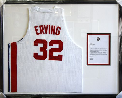julius erving nba basketball jersey framed designed and custom framed at art frame express