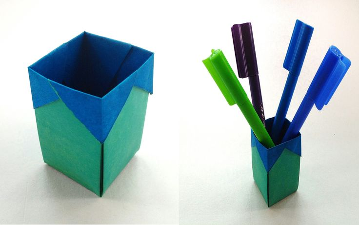 "Useful Origami - Paper ""Thrash bin / Pen Holder"""