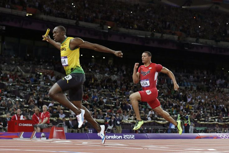 Justin Bolt heads Ryan Bailey in 2012 London Olympics: USA men's 4 x 100m relay team  Silver medal, Jamaica Gold, sets world record (photo essay) | OregonLive.com