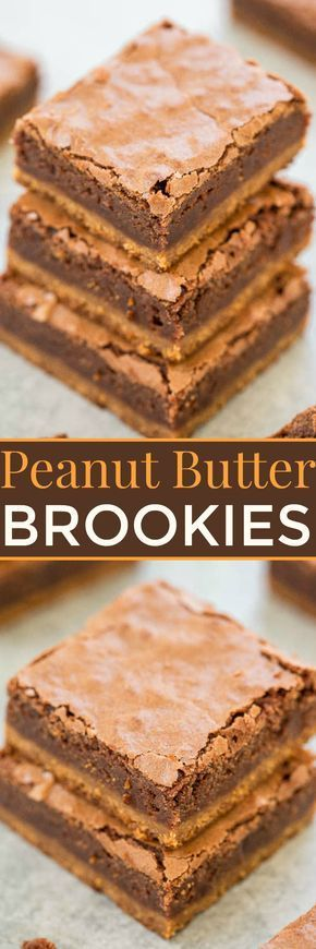 Peanut Butter Brookies - A soft and chewy peanut butter COOKIE base with fudgy BROWNIES on top!! For peanut butter + chocolate lovers, this EASY no-mixer recipe is the best of both worlds!!