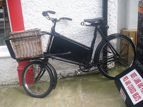 """Barker and Wigfall tradesmans' bicycle.  View my original transport paintings at my website; http://jamessetevensart.carbonmade.com/about   or """"Like"""" my face book page at;  https://www.facebook.com/ClassicCarArtByJamesStevens?ref=hl   for regular updates or to contact me about possible commissions."""