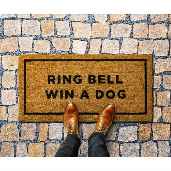 Ring Bell - Win a Dog! Doormat available at Urban Barn