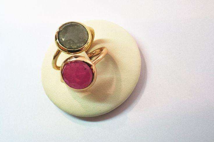 Truscelli Joailliers, or jaune ou rouge corindones. En boutique