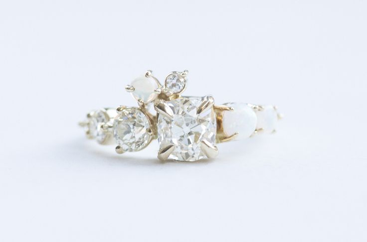 1.24 CT. OLD MINE CUT DIAMOND AND WHITE OPAL ARCH CLUSTER RING Image