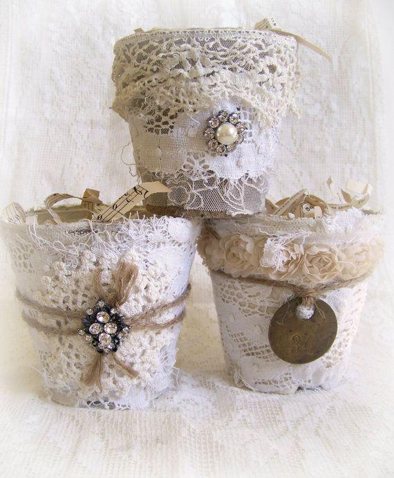 Altered Peat Pot Shabby White Decor