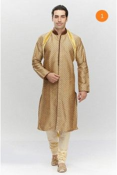 Manyavar Elegant Brown Designer Kurta. This elegant outfit is crafted for all festivities. The shade of dark brown all over the kurta along with the print work all over and the contrast neckline completes the look.