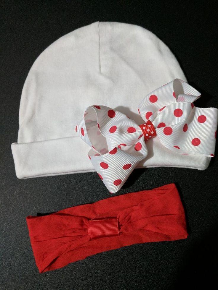 Baby girl beanie white hat red polka dot bow alligator clip headband 0-6months  #Beanie