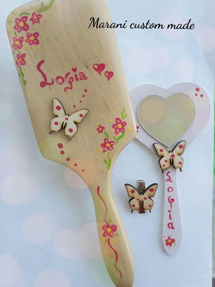Handmade set with hair brush,hair clip, mirror
