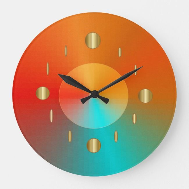 Decorative Gold Red Aqua Green Trendy Wall Clock Zazzle Com Wall Clock Aqua Green Clock