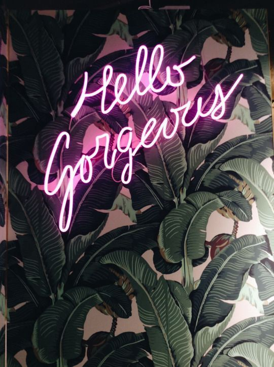 """hello gorgeous"" pink neon sign 