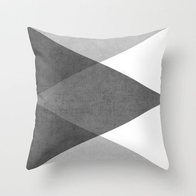 black and white triangles Throw Pillow by Her Art - $20.00
