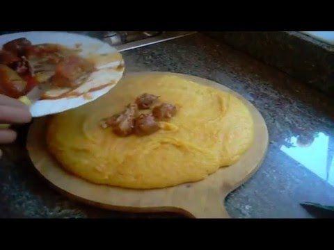 Polenta con funghi chiodini, salame cotto e fonduta di formaggi - YouTube