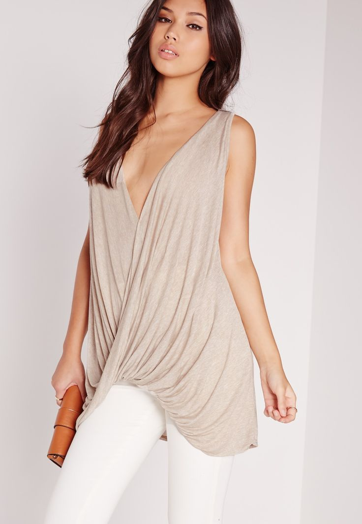 Missguided - Drape Front V-Neck Tunic Nude