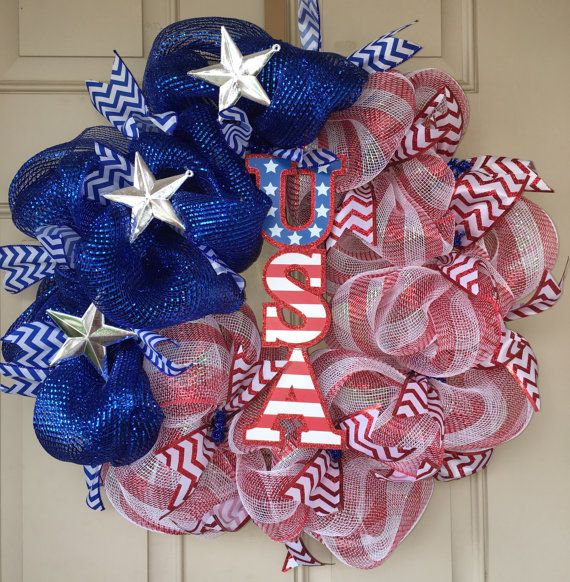 Patriotic Wreath Indepedence Day Memorial by LifeBySoniaWreaths