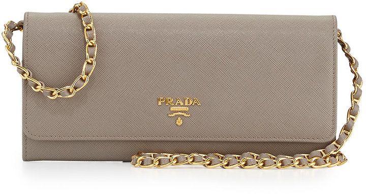 prada on sale handbags - Prada Saffiano Wallet on a Chain, Gray (Argilla) | Jewelry and ...