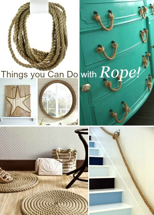 All the things you can do with thick rope for a nautical rustic touch: http://www.completely-coastal.com/2016/02/diy-craft-supplies-where-to-buy-thick-rope-wreath-frames-wood-plaque-canvas-and-more.html And where to buy!!