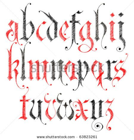 Sketch Gothic Alphabet - stock vector