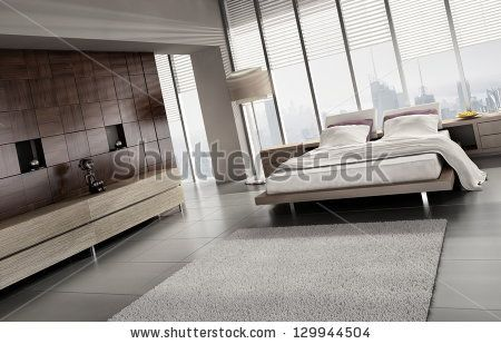 A 3D rendering of light modern bedroom by PlusONE, via Shutterstock
