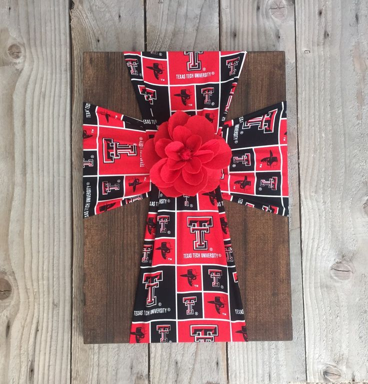Texas Tech Fabric Cross, Texas Tech Baby, Texas Tech Gift, Graduation Party Decor, Graduation Centerpiece, College Dorm Decor, Red Raiders by FabricCrossDecor on Etsy https://www.etsy.com/listing/263382015/texas-tech-fabric-cross-texas-tech-baby
