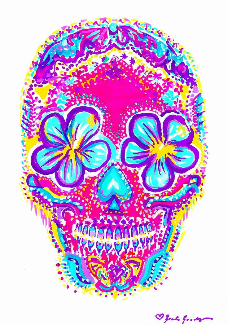 Pink Sugar Skull Painted By -Bronte Goodieson