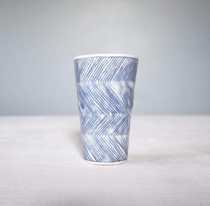 Tumbler with Herringbone: Porcelain, Inlaid Slip www.gisellehicks.com