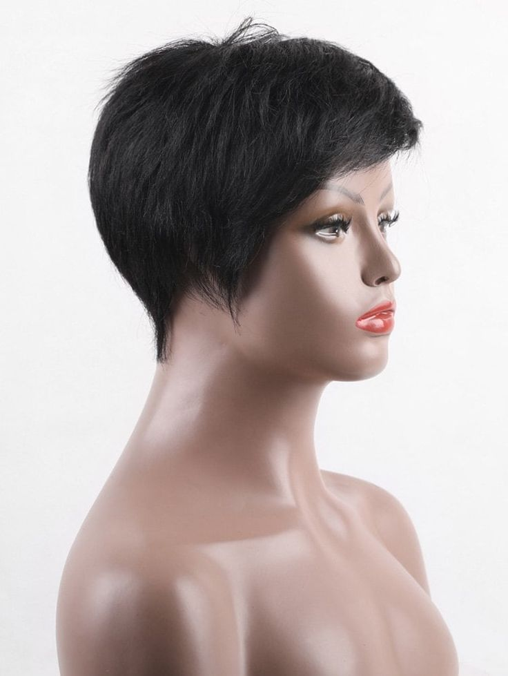 Short Capless Side Fringe Straight Real Human Hair Wig