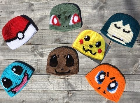 Pokemon Crochet hat pattern Pokeball, Snorlax, pikachu, charmander, bulbasaur, evee, squirtle  http://www.sprepatterns.com/p/my-store.html#!/Crochet-Patterns/c/20365195/offset=9&sort=normal
