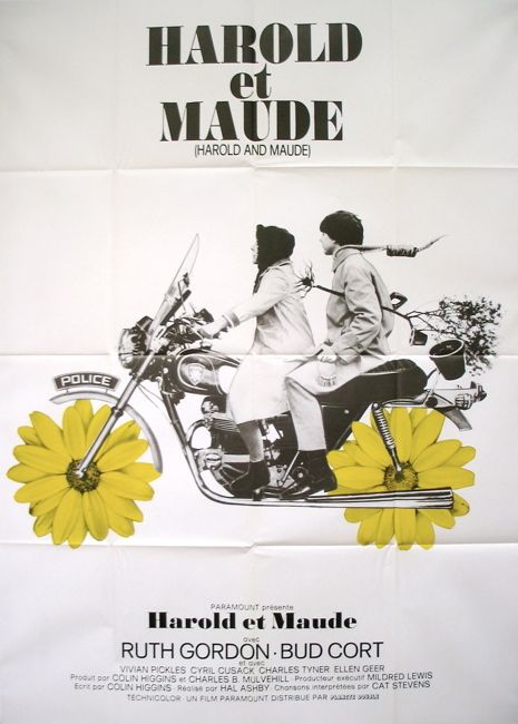 Harold & Maude 1971.   Director: Hal Ashby  Writer: Colin Higgins  Stars: Ruth Gordon, Bud Cort and Vivian Pickles.  Young, rich, and obsessed with death, Harold finds himself changed forever when he meets lively septuagenarian Maude at a funeral.