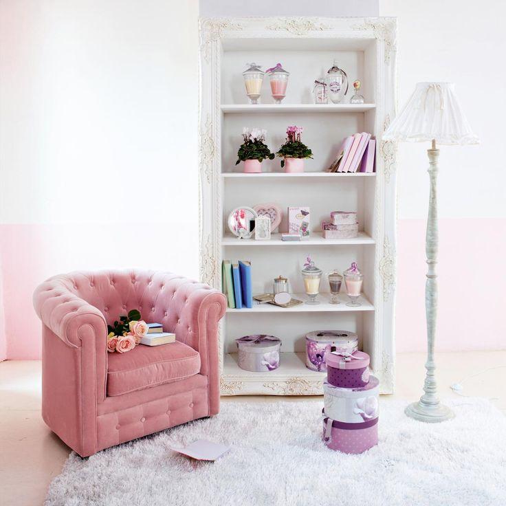 Zetel met vakken in roze fluweel CHESTERFIELD