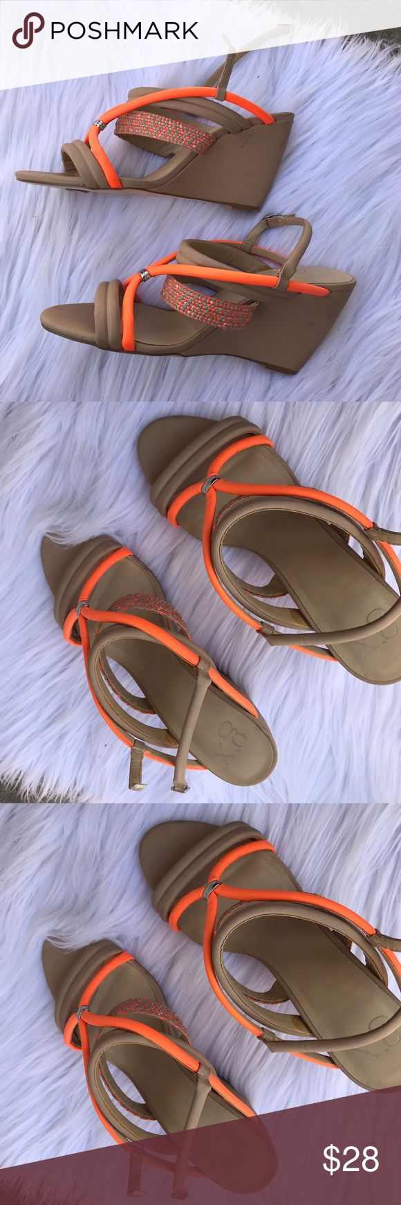 GWEN STEFANI GX SZ 10 BEIGE ORANGE WEDGES SHOES As seen have some lil small stains on the side that are hardly noticeable ❤ GX by Gwen Stefani Shoes