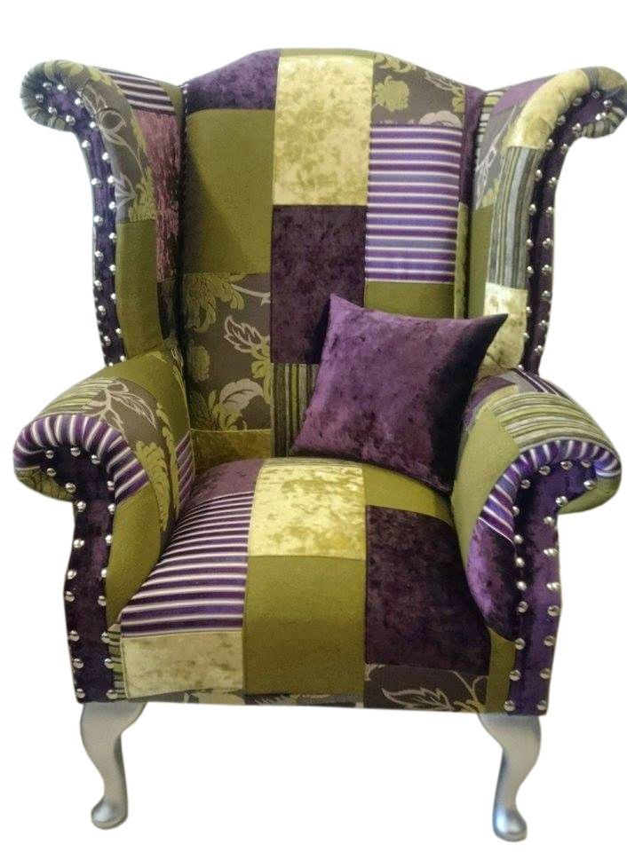 *BESPOKEIBLE* Patchwork Queen Anne Wing Chair | eBay