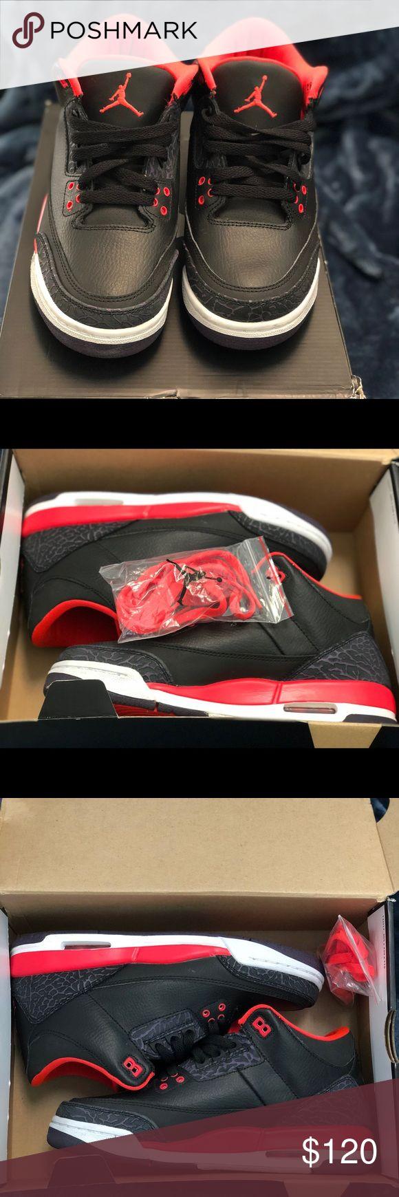 Air Jordan 3 Retro Crimson Size 7Y  Excellent Condition Like New 100% Authentic Jordan Shoes Sneakers