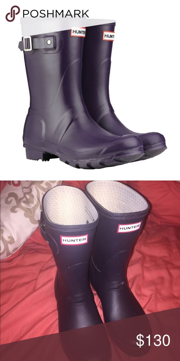 Short purple Wellies, barely used, size 6M/7F Barely used matte Hunter rain boots! Comes with the box and packaging Hunter Boots Shoes Winter & Rain Boots