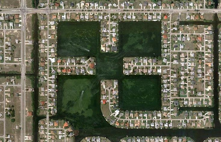 Back in 2010, The Big Picture did a fascinating series entitled, Human Landscapes in SW Florida. Using satellite photography from Google Maps, a variety of examples of human development were found. From artificial lakes and densely populated sprawls, to circular developments