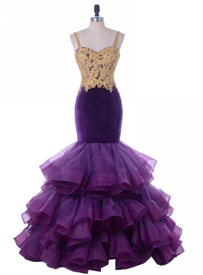 Ruffles Gold Lace Beaded Long Prom Dresses Arabic Women Formal Party Dress