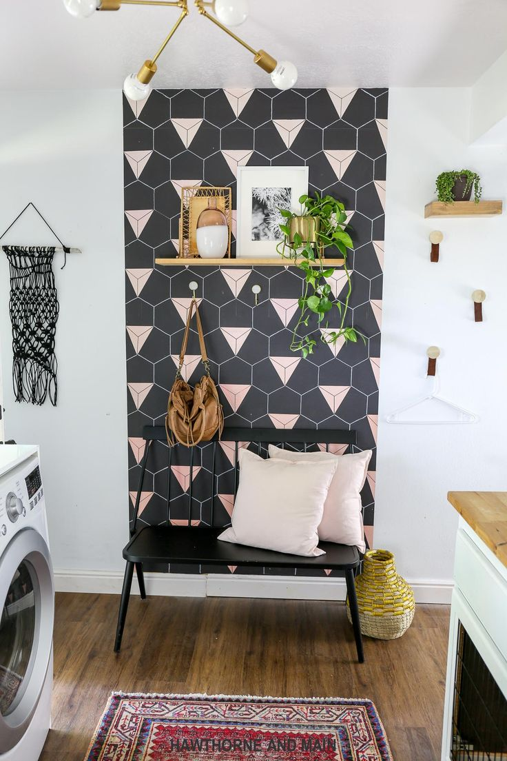 Modern Boho Laundry room- I love the accent wall!