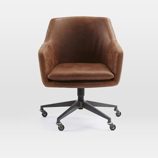 Helvetica Leather Office Chair | West Elm