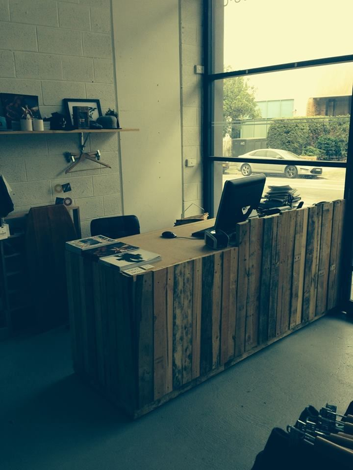Custom pallet wood counter for Union Store, Cronulla.