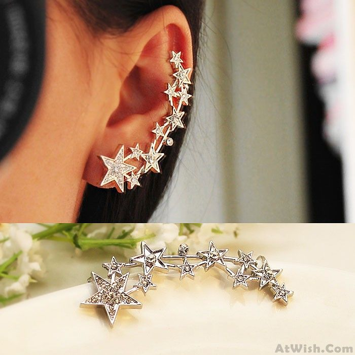 Wow~ Awesome Cute Stars Ear Cuffs Piercing Cartilage Cuff Wrap Earring Studs! It only $9.99 at www.AtWish.com! I like it so much<3<3!