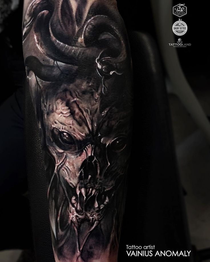 Tattoo artist Vainius Anomaly color horror realism tattoo in authors style | Lithuania