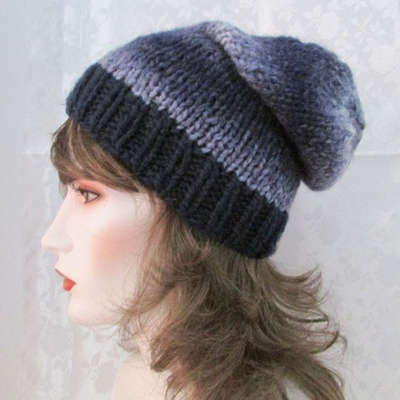 Blue slouche hat, hand knit clouche hat, navy and multi blue skull cap, winter hat, bulky slouche hat, ladies hat, teen hat,