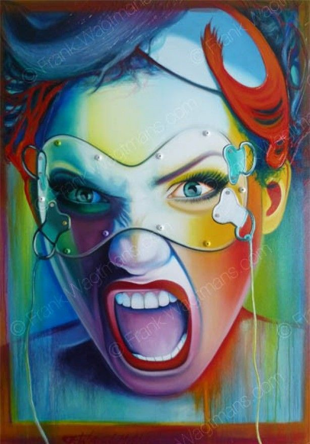 Hippe interieur inspiratie: kleurrijk schilderij waar de energie vanaf spat! Portret geschilderd in de kleuren: blauw, turquoise, groen, rood, oranje, geel, paars. Zeer kunstzinnig en apart schilderij!!!
