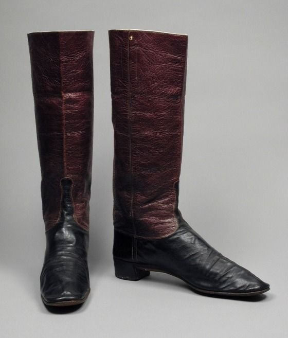 Pair of Man's Dress Wellington Boots | LACMA Collections Probably England, circa 1845 Costumes; Accessories Patent leather, leather, sueded leather Height: 14 1/4 in. (36.2 cm); Length: 10 in. (25.4 cm) each