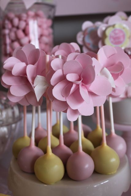 Floral Cake Pops floral cakepops baby shower maybe