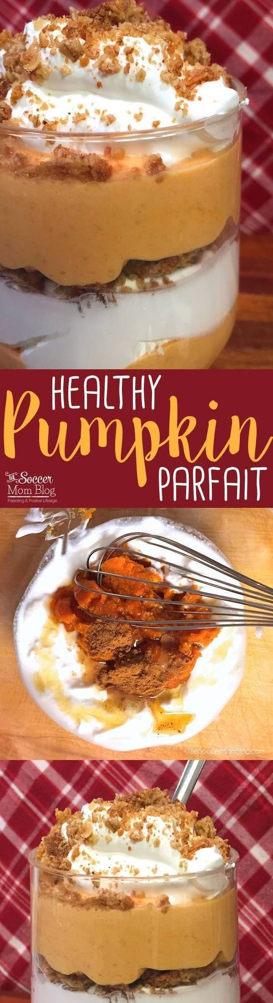 Tastes like pumpkin pie in a glass...and it's good for you! This Greek Yogurt Pumpkin Parfait recipe is high in protein calcium and whole grains! A luscious (and healthy!) snack or dessert perfect for Fall and Thanksgiving.