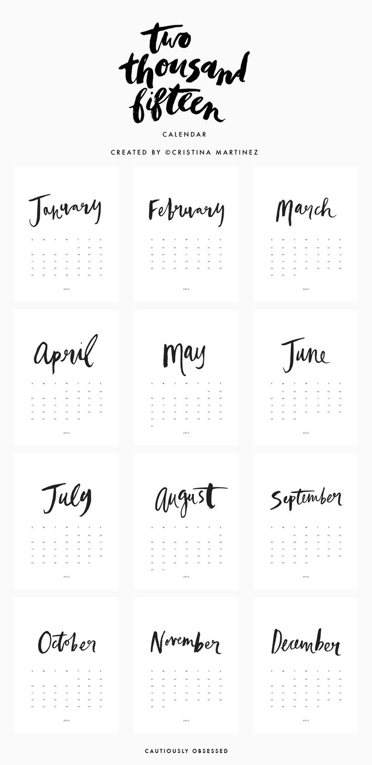 Free PDF Printable 2015 Calendar with Hand Lettering