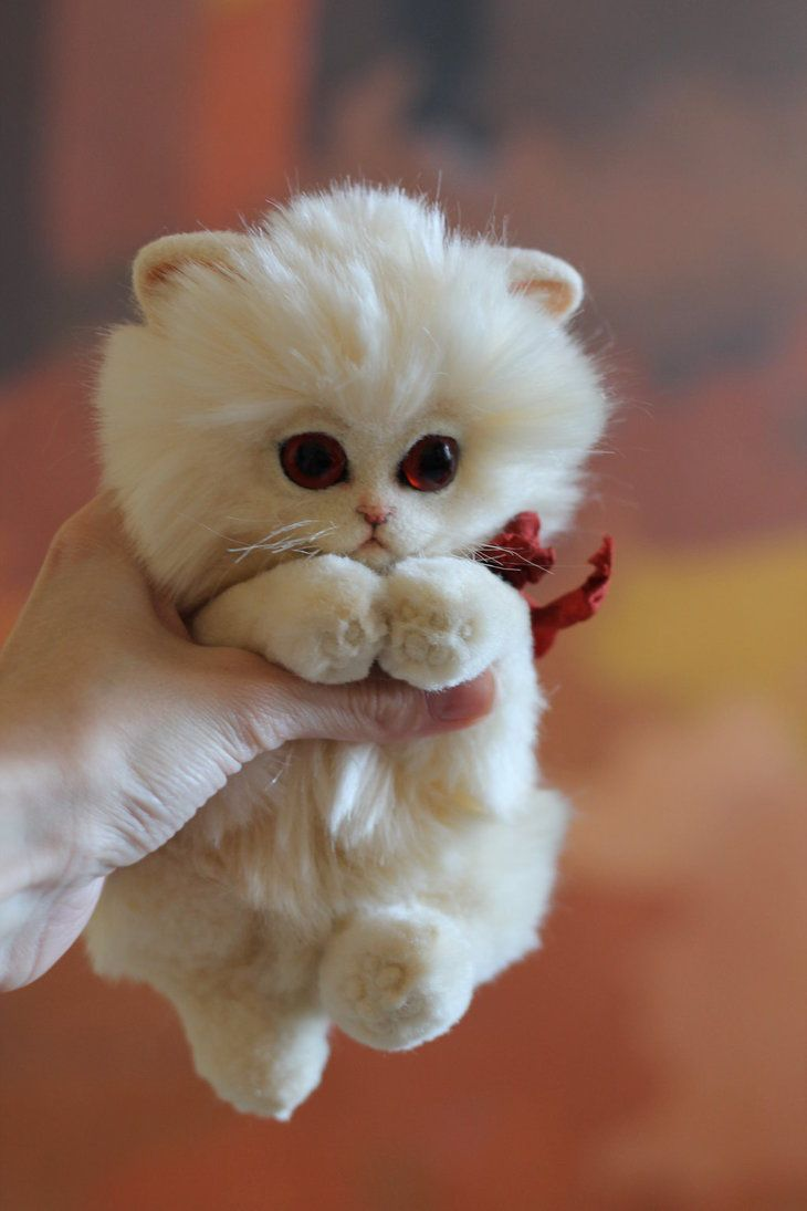 "Handmade sewn toy ""Albino kitten"", Size: 15cm (sitting) Materials: imitation fur, wire, 100% wool, glass eyes."