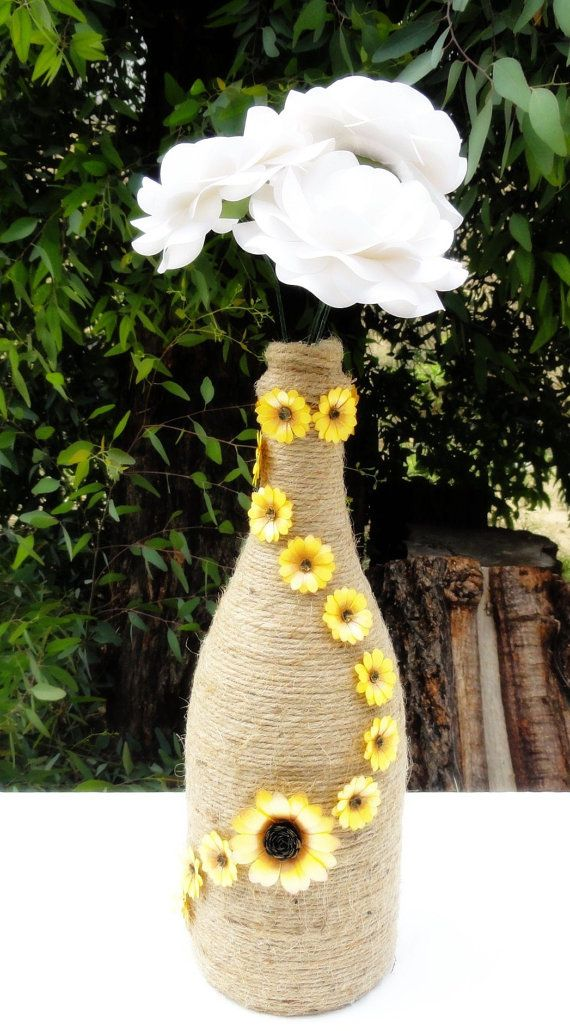 Paper sunflower decor wrapped wine bottle decorated wine