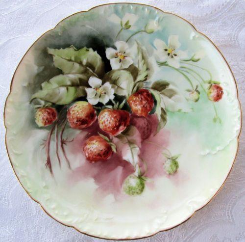 Antique Haviland France Limoges Plate Hand Painted Strawberries Blossoms Mint | eBay